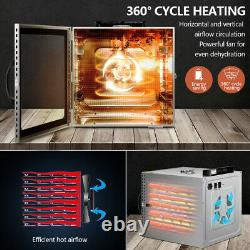 10 Trays Food Dehydrator LED Light Electric Fruit Drying Machine Stainless Steel