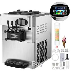 2200W Commercial Soft Ice Cream Machine 3 Flavors LED Panel Bar Stainless Steel