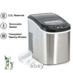 2.2L Ice Maker Machine, Compact Portable Countertop Ice Cube Maker 12KG/24H New