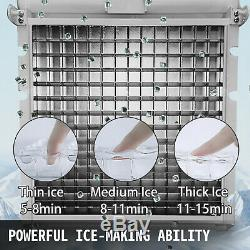 60Kg/Day Commercial Ice Cube Maker Machine Auto Counter Bar Stainless Steel New