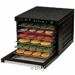 6-Tray Food Dehydrator Machine with Stainless Steel Racks, Fast Drying Dual Fans