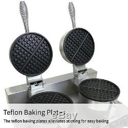 Double Waffle Maker Commercial Catering Kitchen Non-Stick Plate Electric Machine