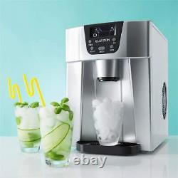 Ice Cube Machine Maker Counter Stop Drinks Chiller LED 12kg /24h 2L Timer Silver