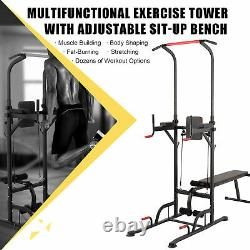 Power Tower Pull Up Bar Dip Station with Sit Up Bench Home Gym Exercise Machine