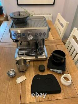 SAGE Barista Express BES875UK Bean to Cup Coffee Machine (silver) plus extras