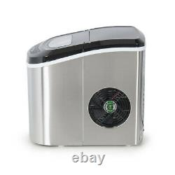Silver Ice Cube Maker 2.4L Kitchen Bar Mini Ice Maker Machines with Ice Scoop UK