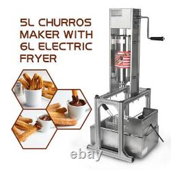 Stainless Steel Manual 5L Spanish Donuts Churros Machine With 6L Deep Fryer
