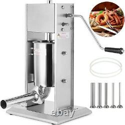 VEVOR 10L Sausage Stuffer Meat Maker Machine 5 Nozzles Vertical Stainless Steel